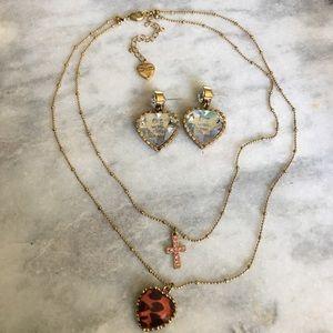 Betsey Johnson Pink Leopard Necklace Earrings Set